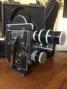 Mint Bolex H16 REX-1 16mm Movie Camera Antique Working Rare + 3 Lenses W/ Case