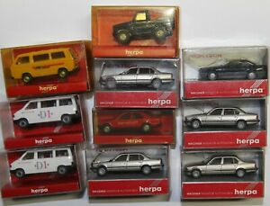 Herpa H0  zehn Kleinbusse und PKW in OVP