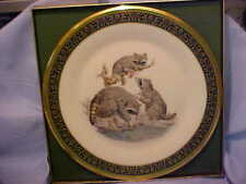Lenox Woodland Wildlife Raccoons Plate 1973 by Boehm Ltd Ed Usa w/boxes