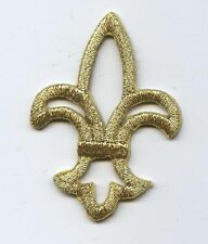 Iron On Embroidered Applique Patch Open Metallic Gold Fleur De Lis Saints