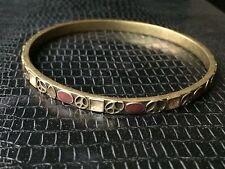 Vintage Brass Enamel Peace Symbol Sign Bracelet