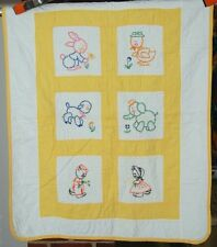 Vintage 30's Embroidered Animals Antique Crib Quilt ~KITTEN, BUNNY & ELEPHANT!