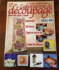 R17> LABORATORIO DI DECOUPAGE N.26 2007 -STILE BAROCCO -TEGOLA CON CARTA DI RISO