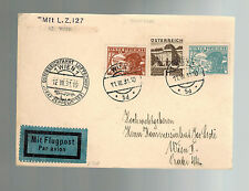 1931 Vienna Austria Graf Zeppelin postcard cover Austria Flight