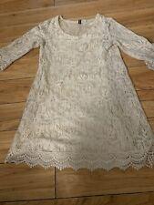 H&m Divided Size 6 Womens Cream Crochet Lace Dress