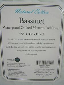 Natural Cotton Bassinet Waterproof Quilted Mattress Pad Cover 15x33 Fitted New