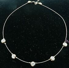 "Signed Swarovski Wire Necklace Bezel Crystals Gold Plated 16.5 - 19"" NWOT  N33"