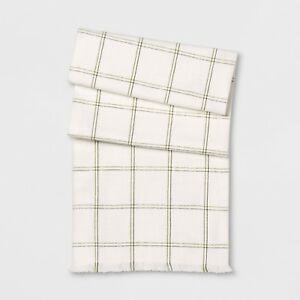 Threshold Green Grid Table Runner - 60.0 inches (L) x 16.0 inches (W)