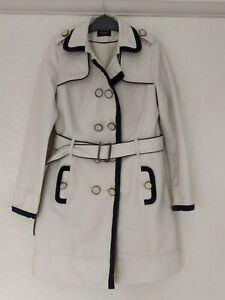 Principles Petite 8 Off White Navy trimmed Mac Coat Double Breasted Belted