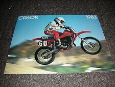 NOS HONDA CR 60 RD 1983 SALES BOOKLET BROCHURE VINTAGE EVO CR60R GF5 83