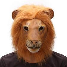 Adult Lion Mask Latex Overhead Fancy Dress Halloween Costume Tiger Animal Jungle