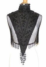 Antique Exquisite Victorian Black Glass Beaded Shawl Cape