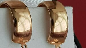 LOVELY LARGE 9ct ROSE GOLD HOOPED EARRINGS. ITALIAN. HINGED FASTENERS.