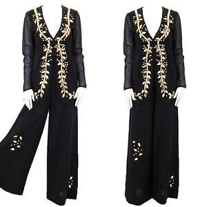 vintage 1970s PAULINE TRIGERE black gold trim hi rise pants outfit set suit s/m