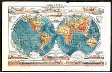 Antique map. WORLD MAP. WESTERN & EASTERN HEMISPHERES. I & II. Circa 1911