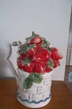 "Blue Sky Clayworks ""Strawberry"" Teapot Basket of Strawberries"