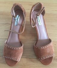 NIB Nordstrom Halogen Leather Wedge Suede Bronze Studded Sandals Shoes Size 7M