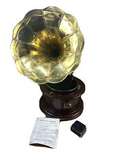 Antique His Masters Voice Gramophone Phonograph Round Vintage Vtg Wooden Dum Dum