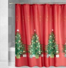 Christmas Fabric Shower Curtain Traditional Christmas Trees with Gifts Red