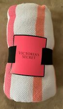 Victoria Secret Pink White Black Striped Picnic Beach Blanket Throw 50x60 NEW