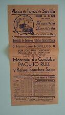1952 Cartel Plaza de Toros Sevilla Córdoba Ruiz Sánchez Saco 6 Novillos