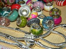 NEW 30/pc Acrylic & GLASS charms mix PLUS 1 European Snake Chain Bracelet LOT