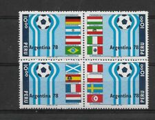 PERU YEAR 1978 SOCCER WORLD CUP ARGENTINA 78 LOGO BLOCK OF FOUR DIFF FLAGS