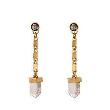 Boucles d'Oreilles Clous Doré Chaine Goutte Cristal de Roche Vintage Class XX16