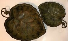 2 Metal Nesting Leaf Table Top Decor Footed Tray Table /Wall Decor India Large