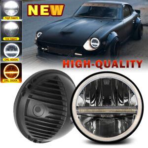 1X 7Inch Round LED Headlight Halo DRL For Datsun 240Z 260Z 280Z 280ZX 1970-83 H4
