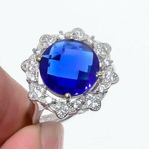 Tanzanite Quartz & Cz Gemstone 925 Sterling Silver Jewelry Ring s.Ad S2661
