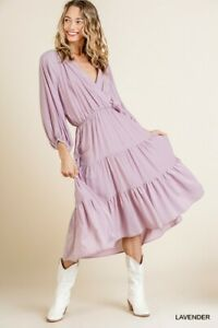 Umgee Lavender Bohemian V-Neck Tiered Ruffled Maxi Dress Size Small Large