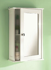 Wooden Wall Mountable Single Mirror Door Indoor Bathroom Cabinet Shelf White