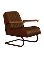 Freischwinger Sessel Lampeter braun Vintage Leder Stahlrohr Sessel Ledersessel