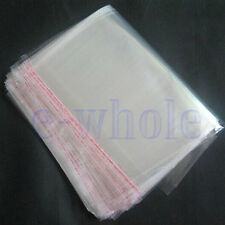 100pcs 16 x 24cm Clear Seal Sealable Poly Plastic Polyethylene PP Bags Flat DT