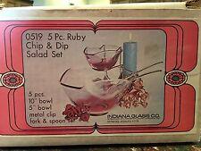 Vintage Indiana Glass Ruby Chip & Dip Salad Set 0519 Original Box Mid-Century