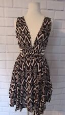LOST IN LUNAR Black and Cream Geometric Cut Out Cover Up Dress Deep V Neck  Sz 4