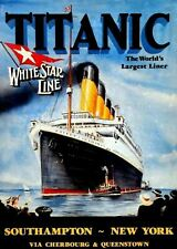 Vintage Titanic 1912 Worlds Largest Ship White Star Line Travel Print Picture A4