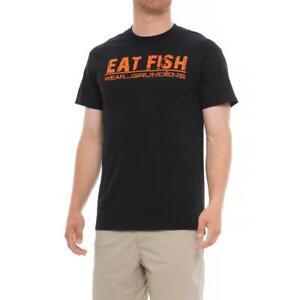 New  Grundens EAT FISH Wear Grundens Black/Orange Fishing Shirt Size M  ___S51