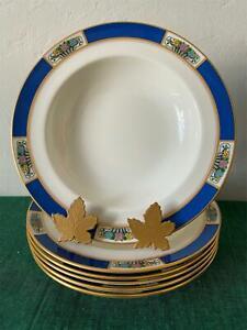 Vintage Lenox Bone China MEADOWBROOK Rim Soup Bowls / Plates x6 Free Shipping