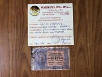 BIGLIETTO DI STATO LIRE 10 UMBERTO I 25 10 1892 MOLTO RARA certificata BB