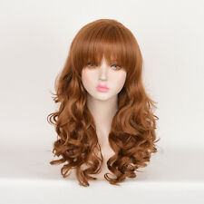 Harry Potter Hermione Cosplay Wig Blunt Bangs Long Curly Light Brown Wigs