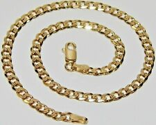 9CT YELLOW GOLD ON SILVER 10 inch SOLID CURB ANKLET / ANKLE BRACELET