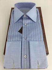 Stefano RIcci NWT Sz 15.5 Fr cuff blue w/navy stripe Riva cotton retail $850