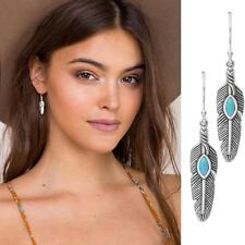 1Pair New Women Silver Plated Turquoise Feather Dangle Ear Stud Earrings Jewelry