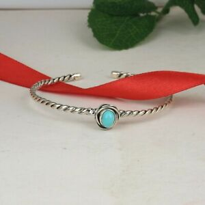 Twisted Arizona Turquoise Bangle 925 Sterling Silver Gemstone Cuff Bracelet