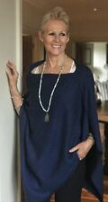 Cashmere Poncho Navy Cape Wrap One Size Fits All UK