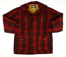 Vintage Woolrich Red & Black Wool Mackinaw Hunting Jacket Coat Size 40 VERY NICE