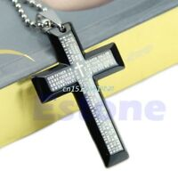Unisex's Men Stainless Steel Cross Pendant Black Silver Necklace New Gift