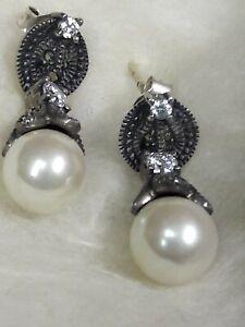 Judith Jack JJ Sterling Silver 925 Pearl Marcasite Dangle Pierced Earrings